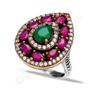 Orientalny srebrny pierścień w kształcie łezki