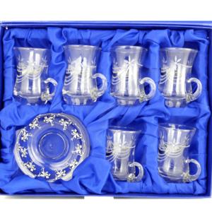 Kryształowe szklaneczki do tureckiej herbaty, tulipanki - 6 szt.