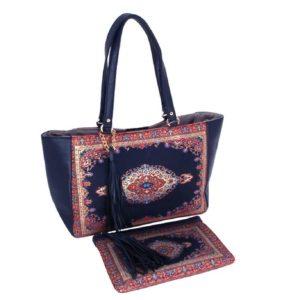 Granatowo-czerwona torebka z kopertówką