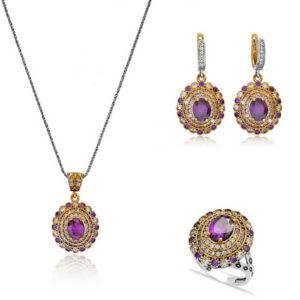 Komplet srebrnej biżuterii z ametystem