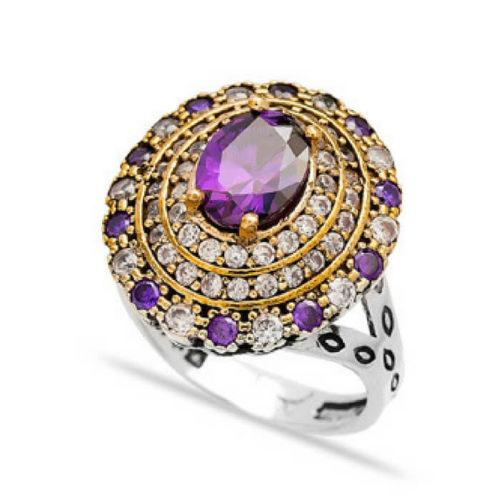 Pierścień srebrny z ametystem
