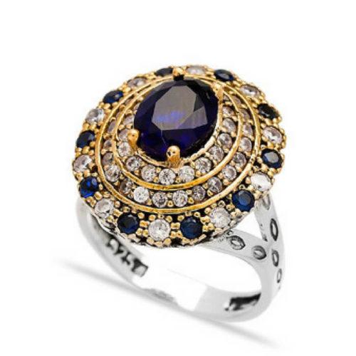 Pierścień srebrny z szafirami