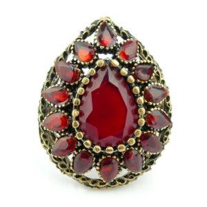 Pierścień orientalny - łezka rubinowa