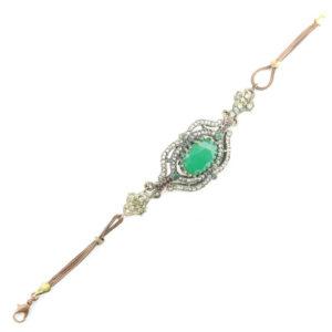 Wyjątkowa bransoletka z zielonym kamieniem