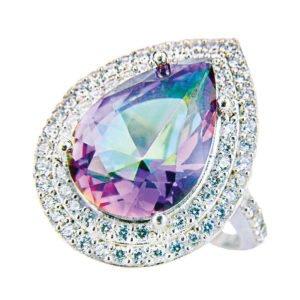 Pierścień srebrny z mistycznym topazem