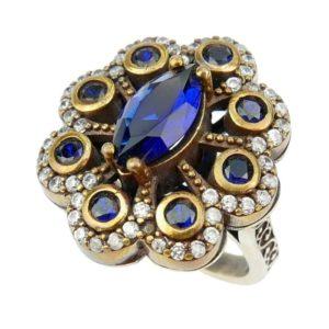 Pierścień srebrny z szafirem