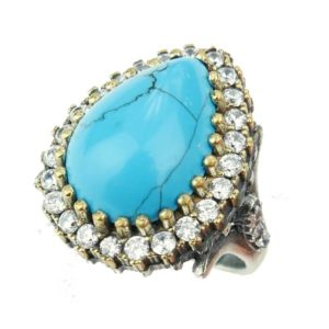 Pierścień srebrny Hurrem z turkusem