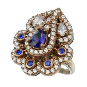 Pierścień z szafirem i cyrkoniami srebrny