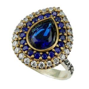 Pierścień z szafirem srebrny