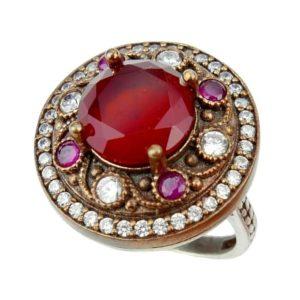 Pierścionek srebrny z rubinem i cyrkoniami