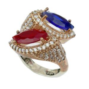 Srebrny pierścień z szafirem i rubinem