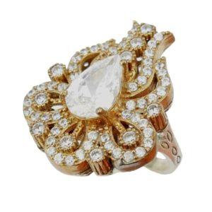 Srebrny pierścień z topazem i cyrkoniami