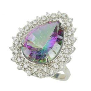 Srebrny pierścień z topazem mistycznym