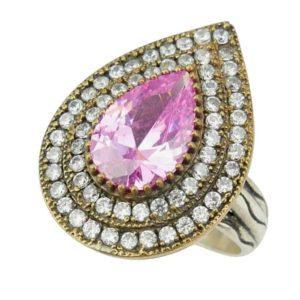Srebrny pierścień z topazem różowym