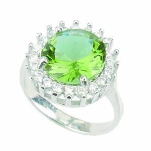 Srebrny pierścień z zultanitem i cyrkoniami