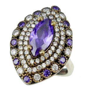 Srebrny pierścionek z ametystem i cyrkoniami