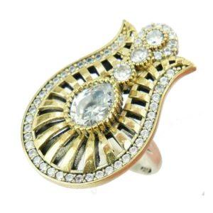 Srebrny pierścionek z topazem i cyrkoniami