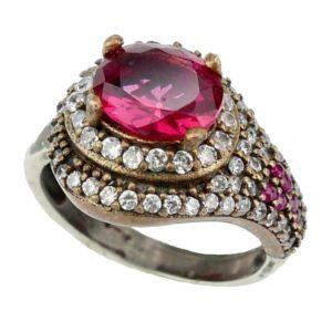 Srebrny pierścionek z topazem różowym