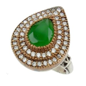 Srebrny pierścionek ze szmaragdem i cyrkoniami