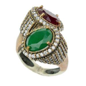Srebrny pierścionek ze szmaragdem i rubinem