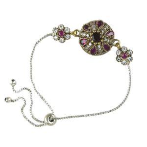 Ottomańska bransoletka z rubinem i różowym topazem