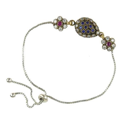 Ottomańska bransoletka z szafirem i różowym topazem