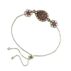 Srebrna bransoletka z różowym topazem