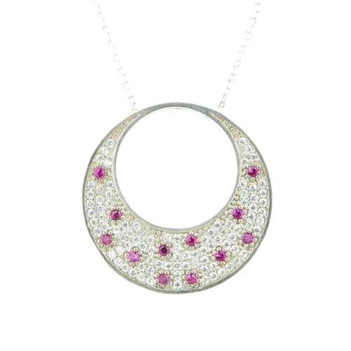 Srebrny naszyjnik półksiężyc z różowym topazem