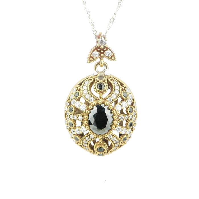 70e421f1c9a184 Srebrny naszyjnik z onyksem - Ottomania - biżuteria orientalna ze srebra