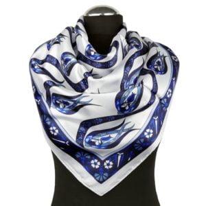Niebiesko-biała apaszka z satyny