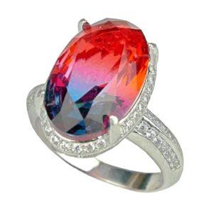 Pierścień ze srebra z turmalinem arbuzowym