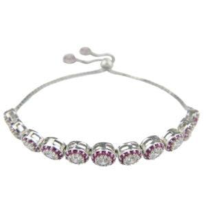Srebrna bransoletka z rubinkami i cyrkoniami