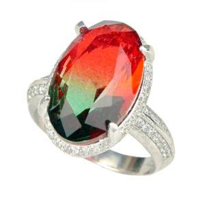 Srebrny pierścień z turmalinem arbuzowym