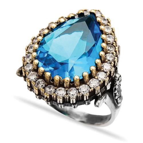Wielki Srebrny Pierścień Hurrem z błękitnym topazem