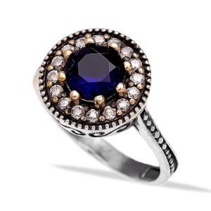 Srebrny pierścień z szafirem