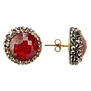 Kolczyki z kryształami svarowskiego i rubinami