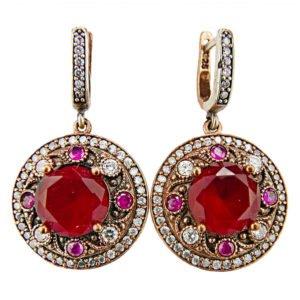 Okrągłe kolczyki orientalne z rubinem