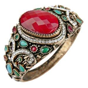 Orientalna bransoletka z czerwonym kamieniem