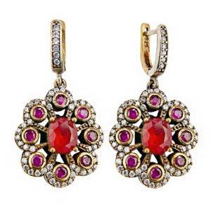 Orientalne kolczyki z rubinami