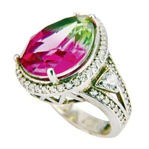Orientalny pierścień z turmalinem arbuzowym