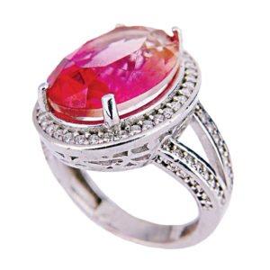 Owalny pierścień z ametrynem