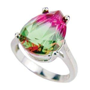Pierścień z turmalinem arbuzowym - srebro 925