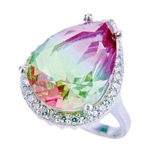 Pierścień srebrny z turmalinem arbuzowym