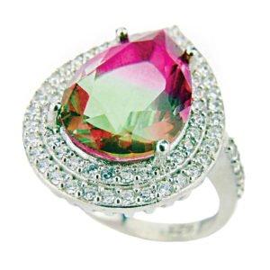 Pierścień z turmalinem arbuzowym
