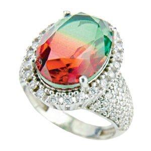 Turecki pierścień z turmalinem arbuzowym